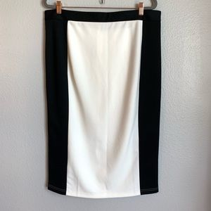 ASOS Off White & Black Color Block Pencil Skirt
